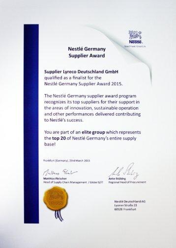 Nestlé Germany Supplier Award