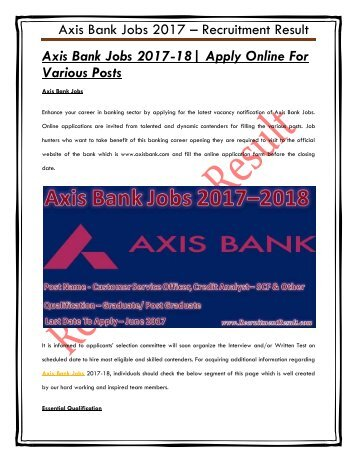 Axis Bank Jobs 2017-18 Apply Online For Various Posts