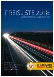 Preisliste 2018   Verkehrszeichen und Zubehör
