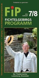 Fichtelgebirgs-Programm - Juli/August 2017