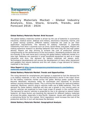 Battery Materials Market - Global Industry Analysis, Size, Share, Growth, Trends, and Forecast 2016 - 2024