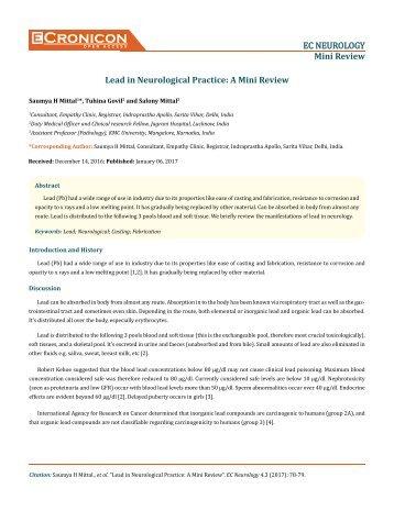 Lead in Neurological Practice- A Mini Review