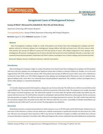 Incognizant Cause of Misdiagnosed Seizure