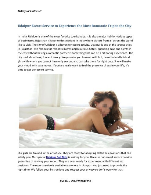 Udaipur Escort Service to Experience the Most Romantic Trip to the City