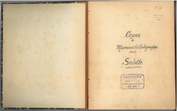Copies de Manuscrits Autographes sur la Salette