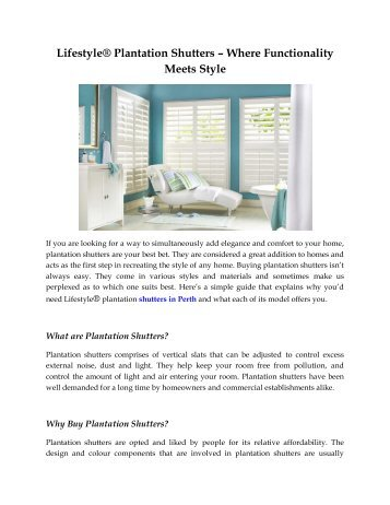 Lifestyle® Plantation Shutters - Where Functionality Meets Style