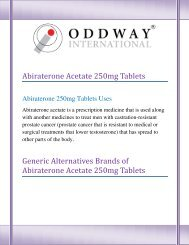 Buy Alternative Brands of Abiraterone Acetate 250mg Tablets