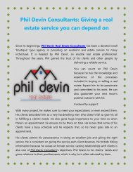 Phil Devin Consultants Giving a real estate service you can depend on