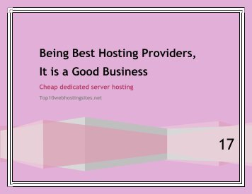 Being Best Hosting Providers, it is a Good Business