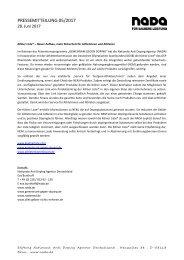 Pressemitteilung NADA Kölner Liste