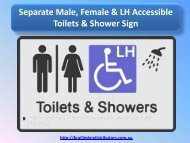 Separate Male, Female & LH Accessible Toilets & Shower Sign