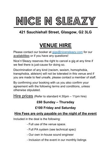 Venue Hire May 2017 updated