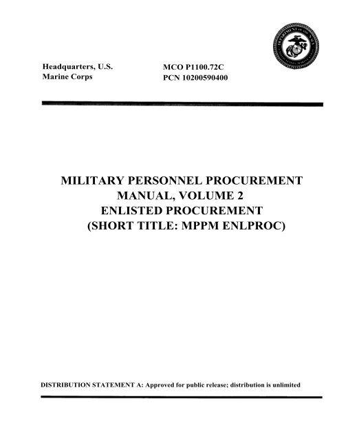 mco p1100 72c w erratum military personnel procurement