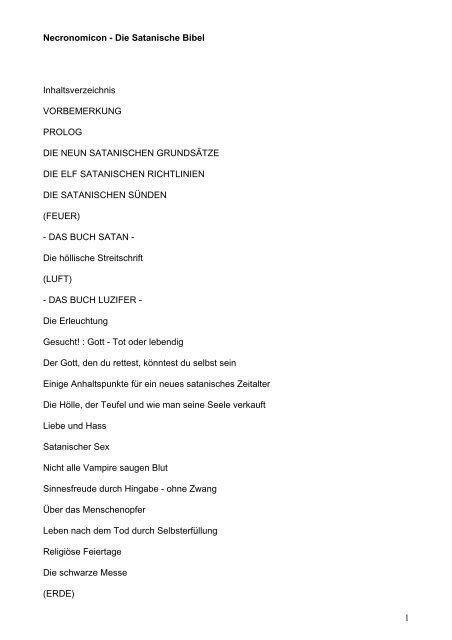 1 Necronomicon Die Satanische Bibel Inhaltsverzeichnis