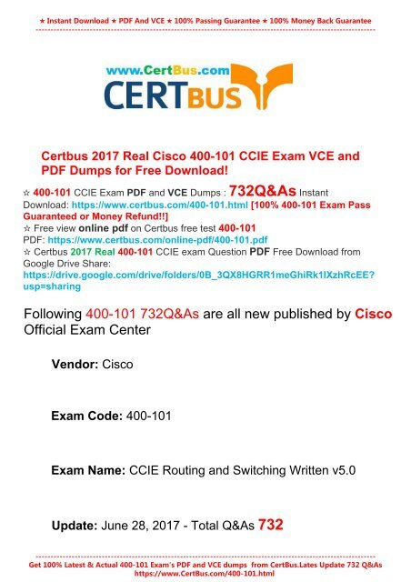Latest July 2017]Free Download CertBus Cisco 400-101 PDF and