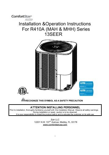 Installation &Operation Instructions For R410A (MAH ... - ComfortStar