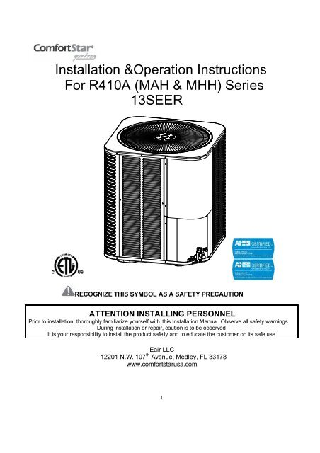 Installation &Operation Instructions For R410A (MAH ... on