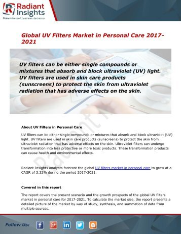 Global UV Filters Market and Forecast Report to 2021:Radiant Insights, Inc