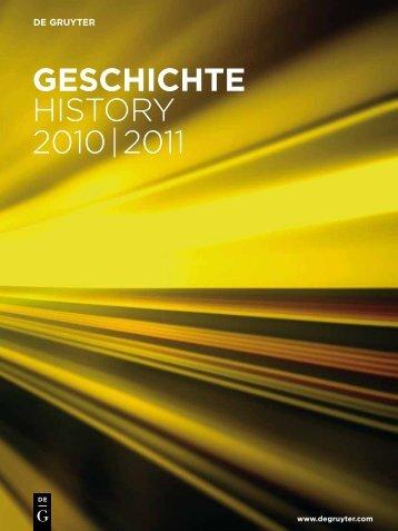 gescHicHte History 2010 | 2011 - Walter de Gruyter