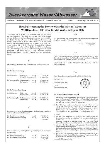 Haushaltssatzung des Zweckverbandes Wasser / Abwasser - OTWA