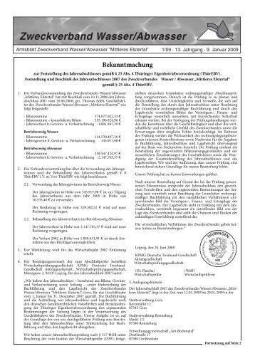 Haushaltssatzung des Zweckverbandes Wasser/Abwasser - OTWA
