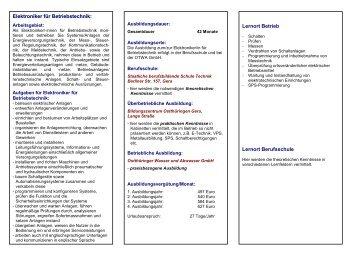 Ausbildung zum/zur Elektroniker/-in für Betriebstechnik bei der - OTWA