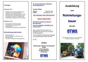 Ausbildung zum Rohrleitungs- bauer bei der - OTWA