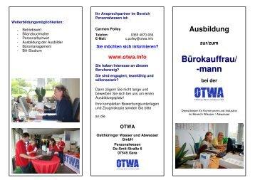 Ausbildung zur/zum Bürokauffrau/ -mann bei der - OTWA