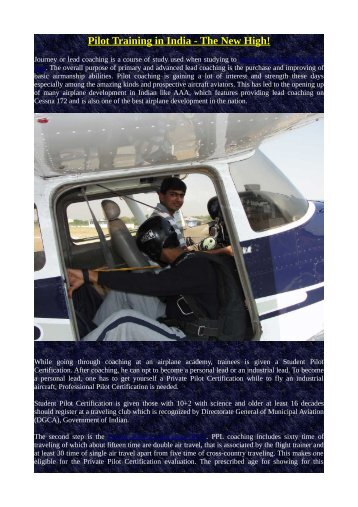 Pilot Training in India - The New High!