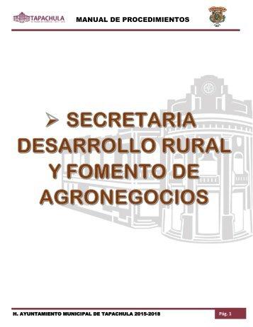 SECRETARIA DESARROLLO RURAL Y FOMENTO DE AGRONEGOCIOS