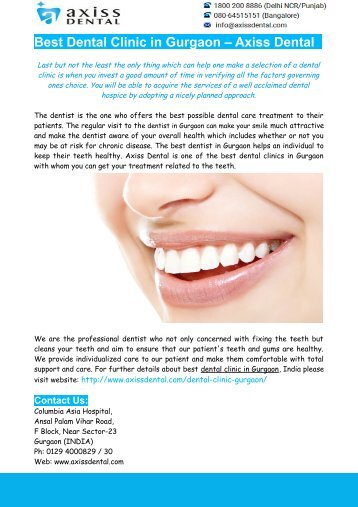 Dental Clinic In Gurgaon- Best Dentist In Gurgaon – Axiss Dental