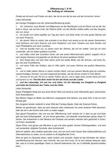 Offenbarung 1, 9-18 Der Auftrag an Johannes - der evangelischen ...