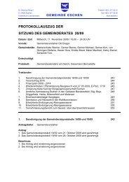 PROTOKOLLAUSZUG DER SITZUNG DES GEMEINDERATES 20/09