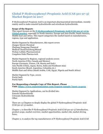 Global P-Hydroxyphenyl-Propionic Acid (CAS 501-97-3) Market Report in 2017