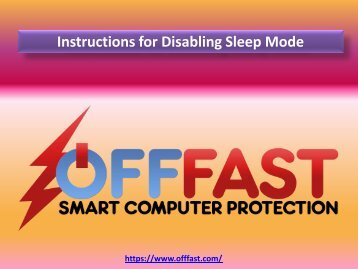Instructions for Disabling Sleep Mode - OFF FAST