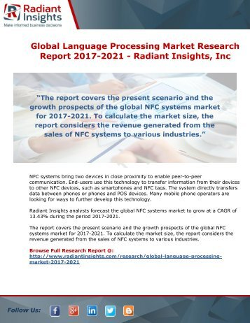 Global Language Processing Market Research Report 2017-2021 - Radiant Insights, Inc