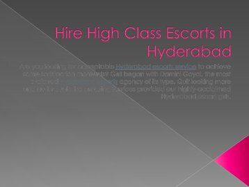 Hire High Class Escorts in Hyderabad