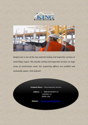 Top Material Testing and Inspection Firm in San Diego