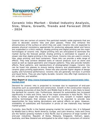 Ceramic Inks Market 2016 Trends, Research, Analysis and Review Forecast 2024