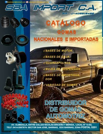 CATALOGO SBA IMPORT CA - BARINAS, VENEZUELA