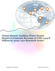 Electric Tankless Water Heater Market to Generate Revenue of USD 1,414.8 Million by 2023