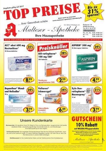 Angebote im Juli Malteser Apotheke Nürnberg