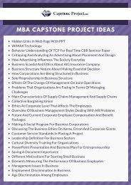 MBA Capstone Paper Ideas