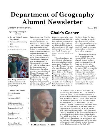 Department of Geography Alumni Newsletter - Arts & Sciences ...