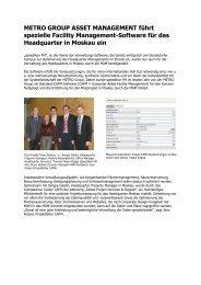 METRO GROUP ASSET MANAGEMENT führt ... - speedikon FM AG