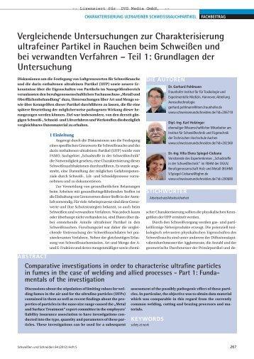 Vergleichende Untersuchungen zur Charakterisierung ... - BGHM