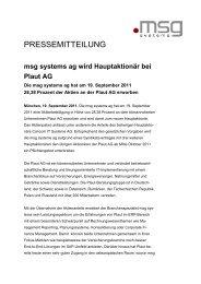 msg systems ag wird Hauptaktionär bei Plaut AG - PresseBox