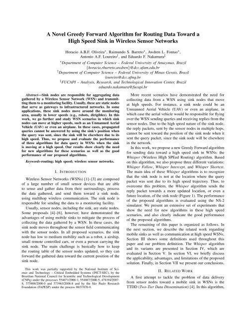 A Novel Greedy Forward Algorithm for Routing Data ... - INCT-SEC