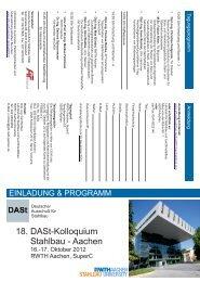 2. Einladung und Programm - Lehrstuhl für Stahlbau der RWTH