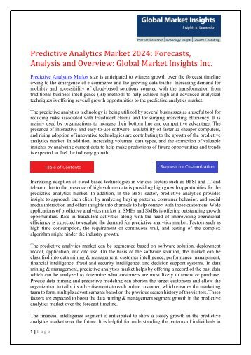 Predictive Analytics      Market  2024- Analysis and Trends